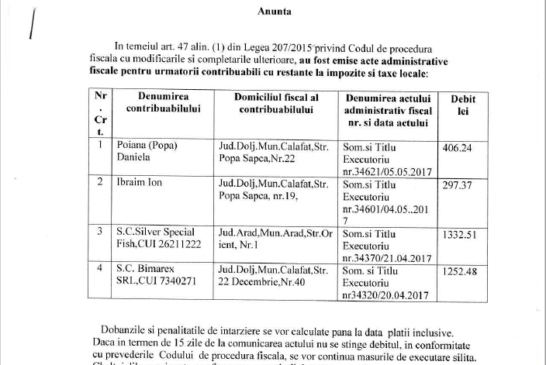 Lista cu contribuabilii cu restante la impozite si taxe locale