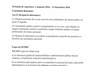 Raport anual cu privire la aplicarea Legii 52 din 2003 privind transparenta decizionala  in administratia publica in anul 2016