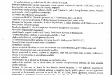 Anunț concurs pentru ocuparea unei funcții publice de execuție temporar vacantă