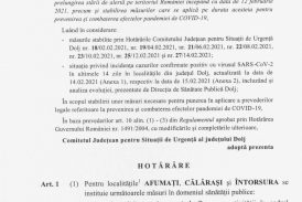 Hotararea nr. 28 din 16.02.2021 a Comitetului Judetean pentru Situatii de Urgenta